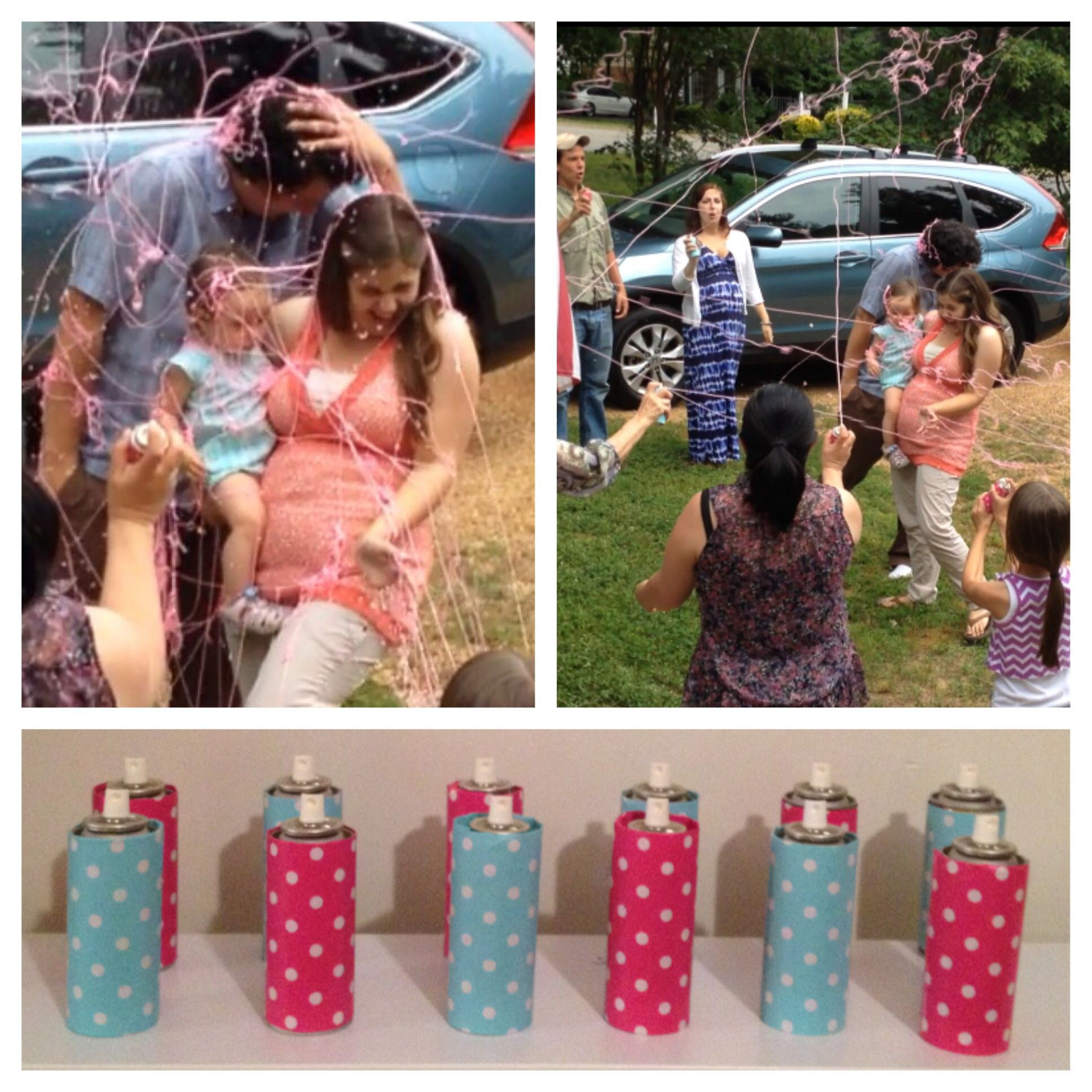 Silly string gender reveal We bought cans of silly string from the