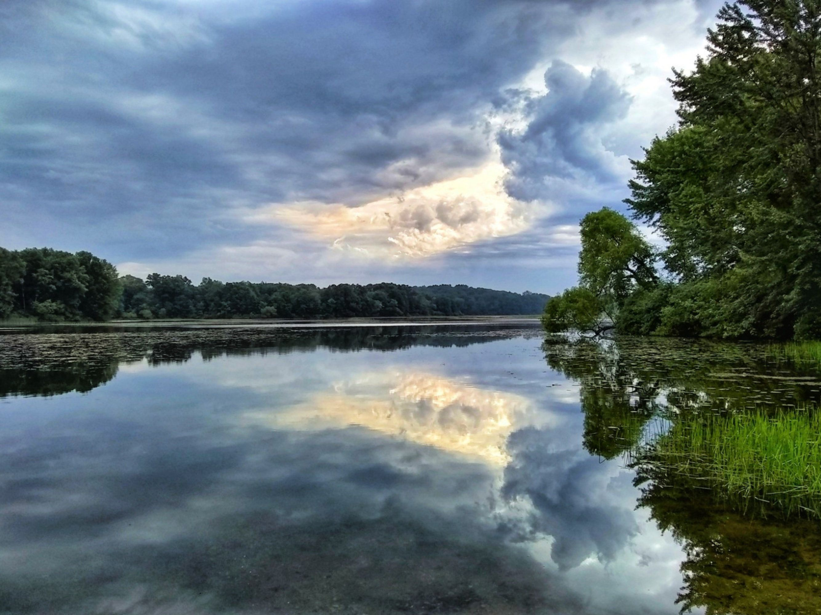 Clouds Reflecting On Blue Water Blue Sky White Clouds Green Trees Print Lake Reflection Lake Decor Green Tree Line Sky Swirls Autumn Landscape Water Winter Landscape