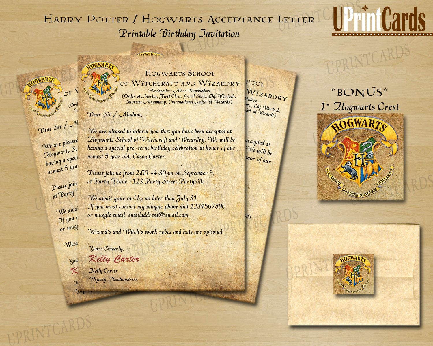 DIY Printable Harry Potter Inspired Acceptance Letter Invitation - Birthday invitations harry potter printable
