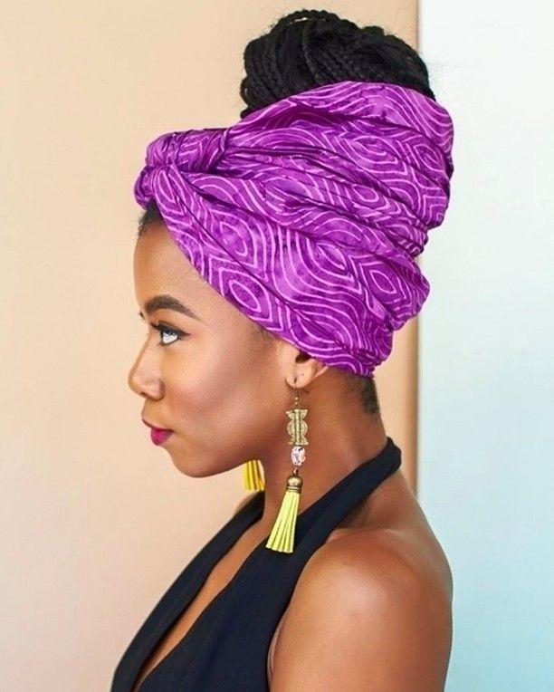 Foulard Cheveux Afro Crepus Naturels Head Scarf StylesHead ScarfsHead WrapsNatural HairstylesCoarse HairTie