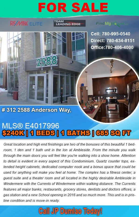 Ambleside Edmonton Home For Sale
