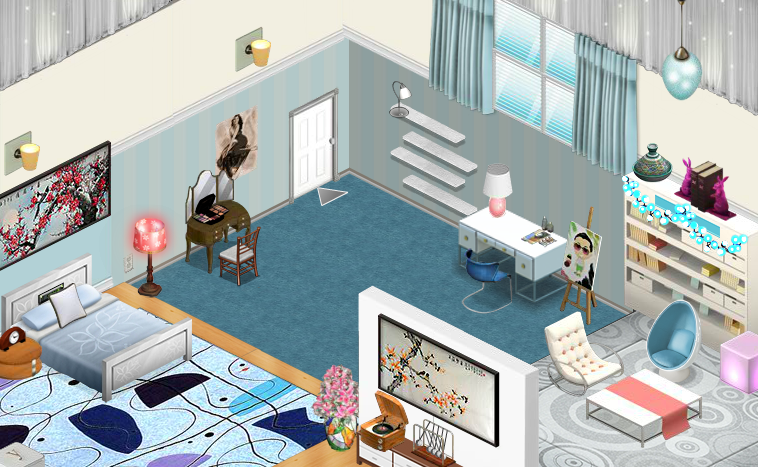 The bedroom in my ParadoxViva trailer home in YoWorld Its