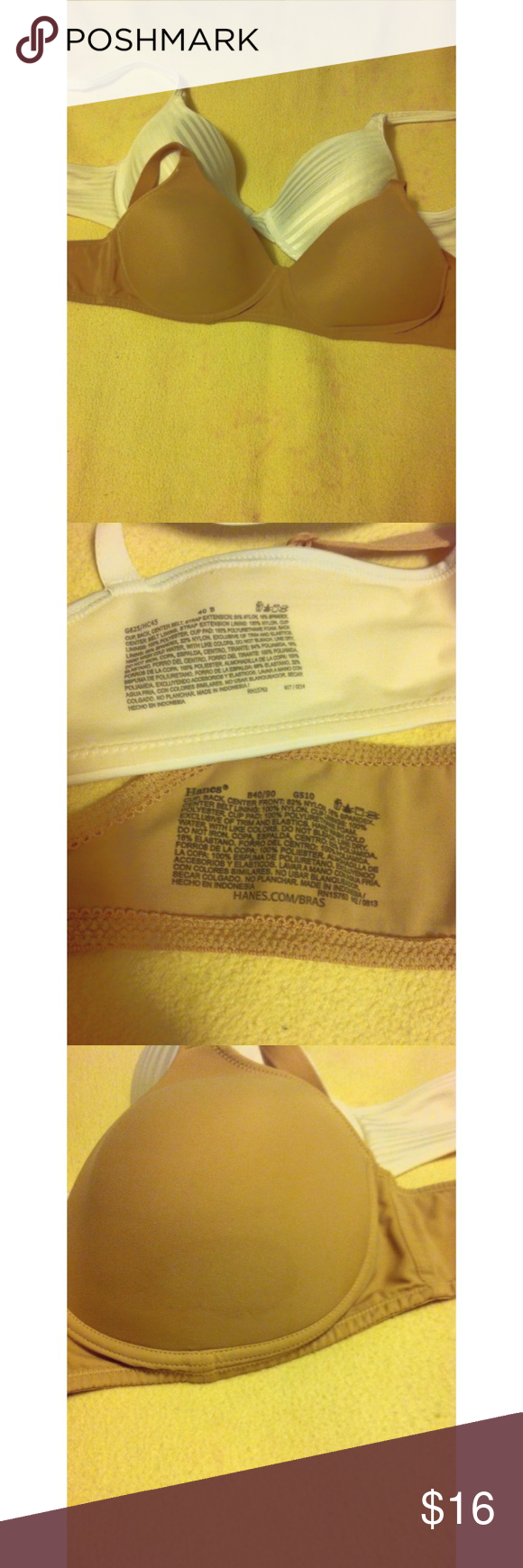 Hanes 40B bra bundle 40B bra bundle! The tan one has a stain on it, but it's barely noticeable & has extra snappy thingies for wider busts. If you don't want the extras, tell me so I can remove it. Hanes Intimates & Sleepwear Bras