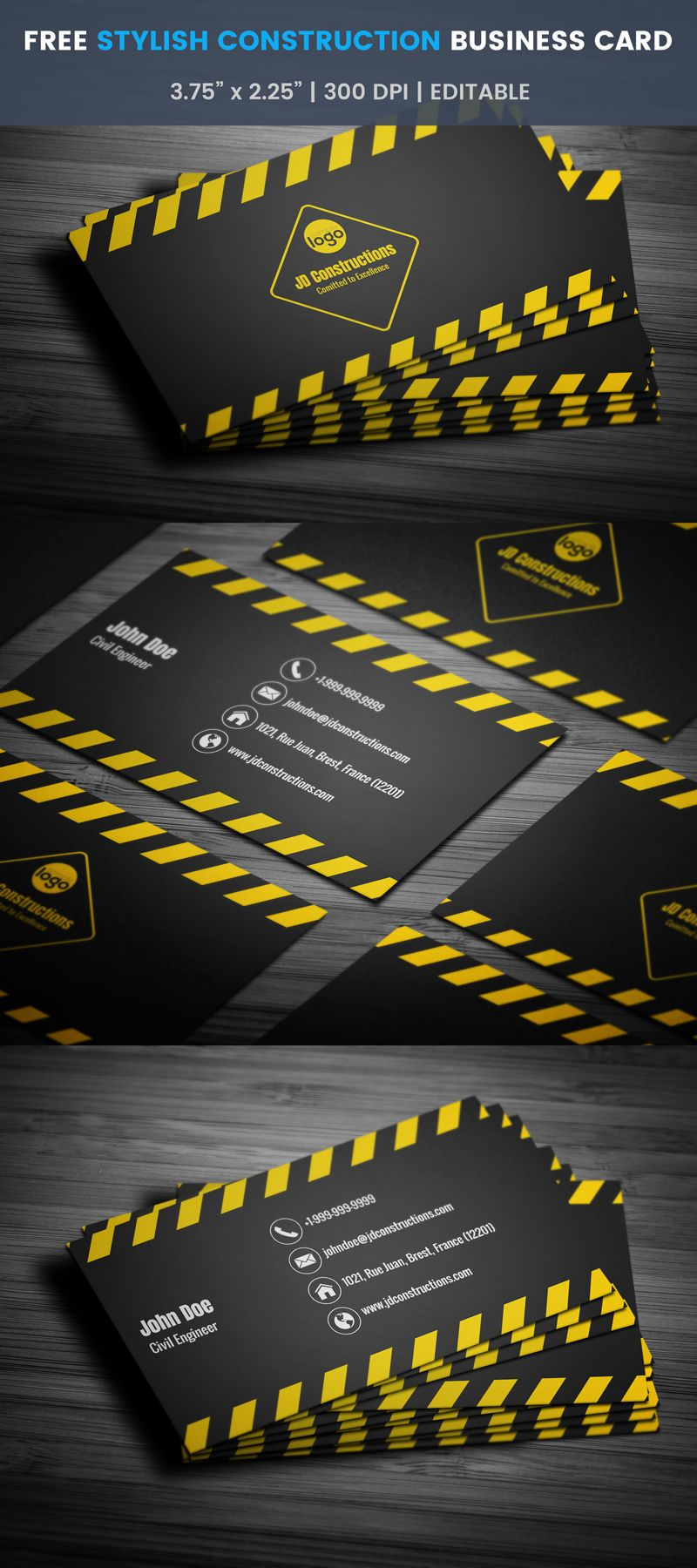 Free stylish civil engineer business card business cards card free stylish civil engineer business card template reheart Image collections