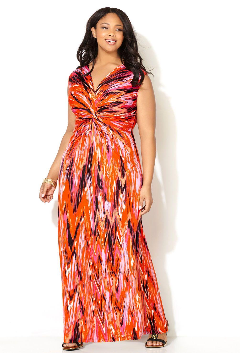 Orange plus size maxi dress