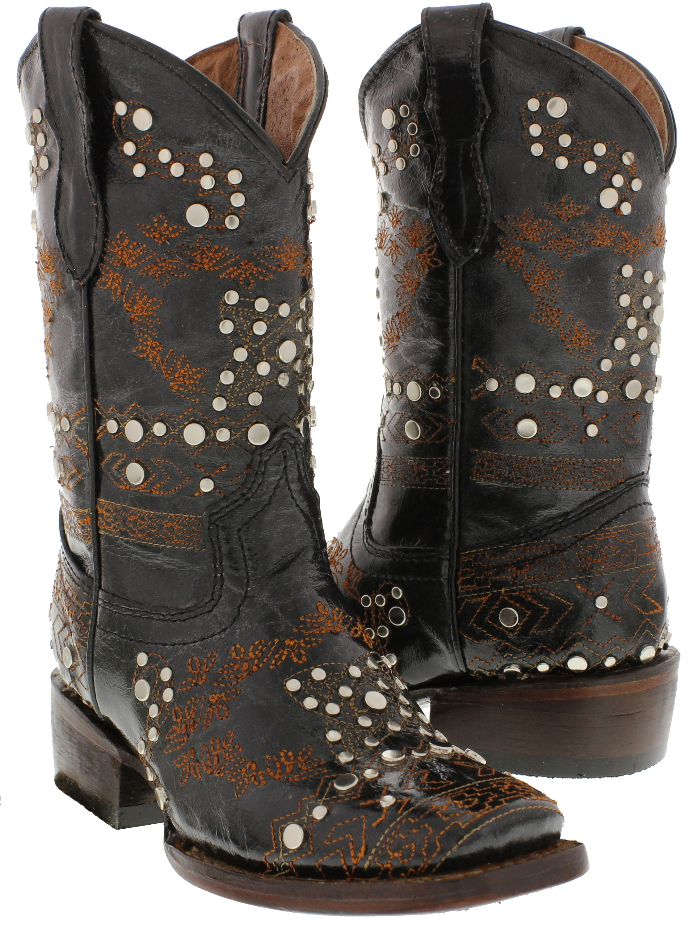 Girls black studded western cowgirl boots square toe