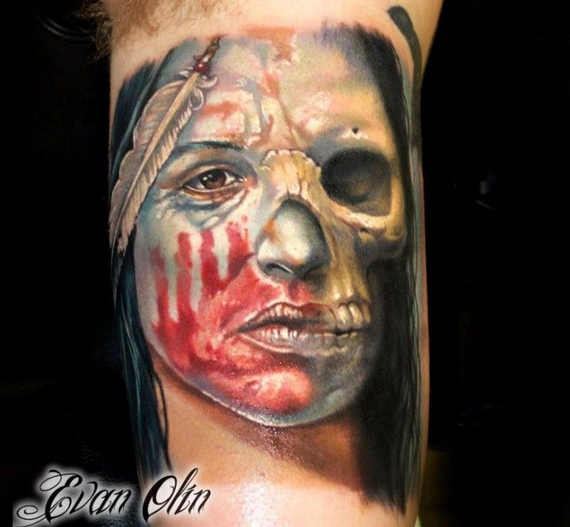 Illustrative style colored arm tattoo of indian half woman