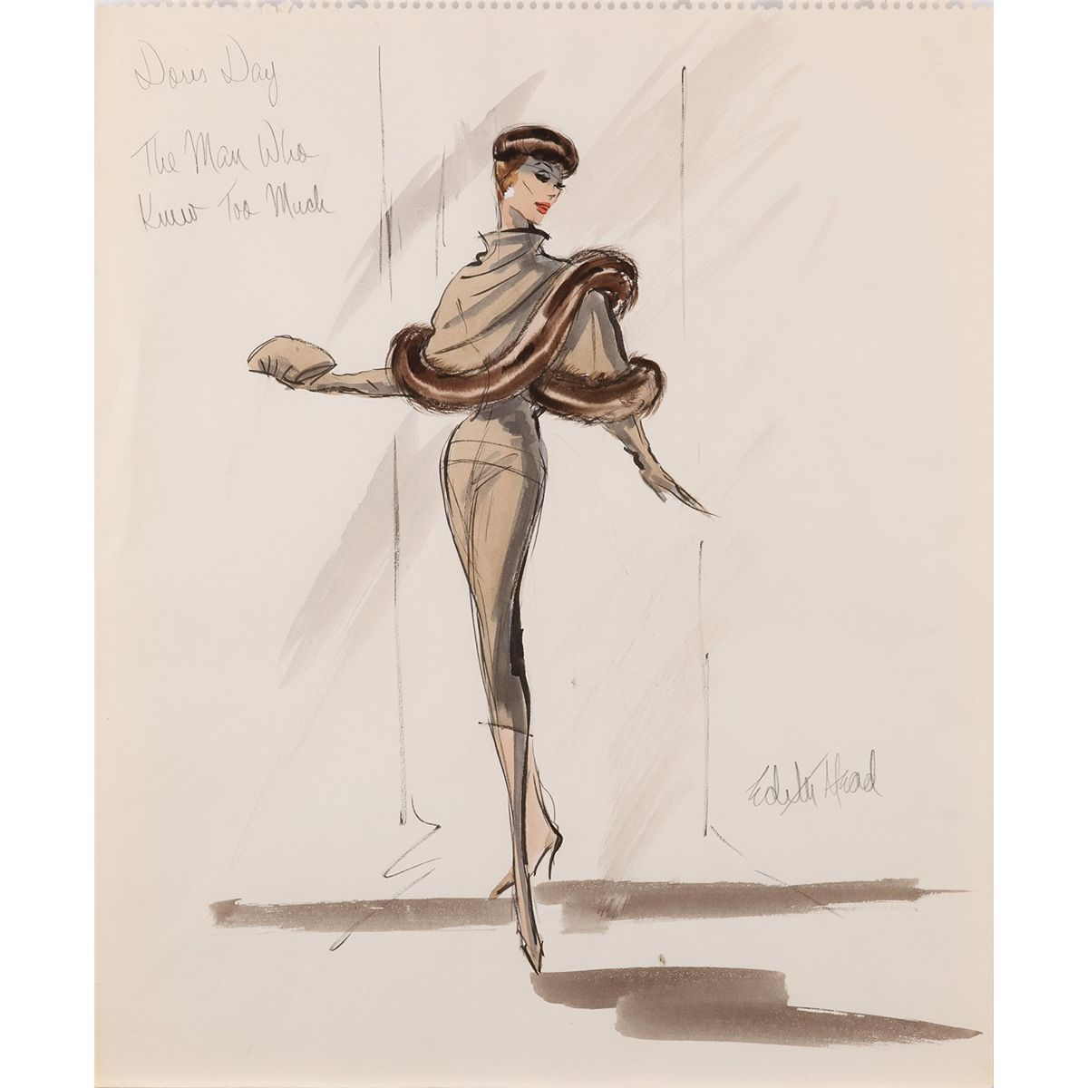 edith head costume design sketch for doris day from alfed