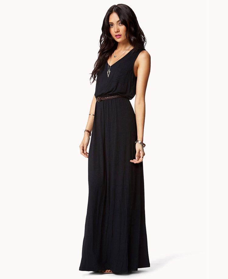 Essential Maxi Dress w/ Faux Leather Belt | FOREVER21 Maxi is a summer staple. Do you have yours? #Braided #Basic #Simple #Sleeveless