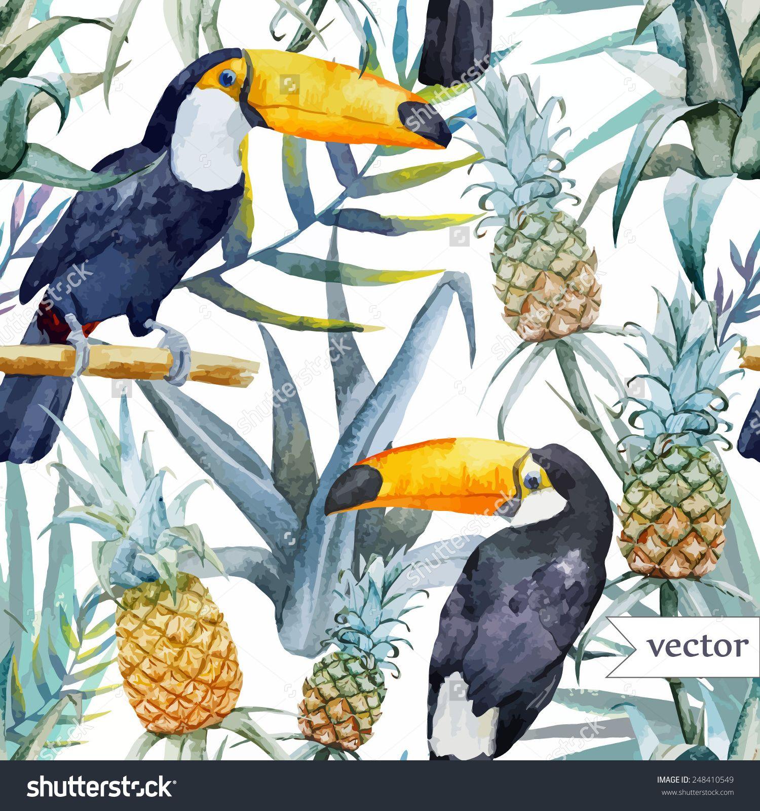 bird, tropical, palm tree, watercolor, pineapple, pattern, wallpaper ...