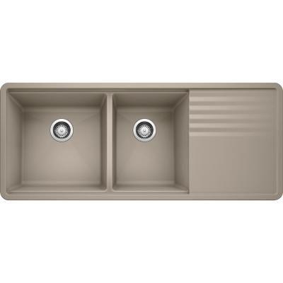 Blanco Precis Undermount Granite 48 In X 20 In 60 40 Double Bowl Kitchen Sink In Truffle In 2020 Double Bowl Kitchen Sink Granite Composite Sinks Silgranit Sink