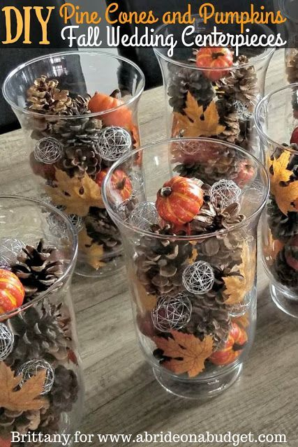 DIY Pine Cones And Pumpkins Fall Wedding Centerpieces images