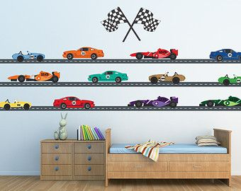 Cars REUSABLE Decals Non Toxic Fabric Wall Decals By PlanetWallArt