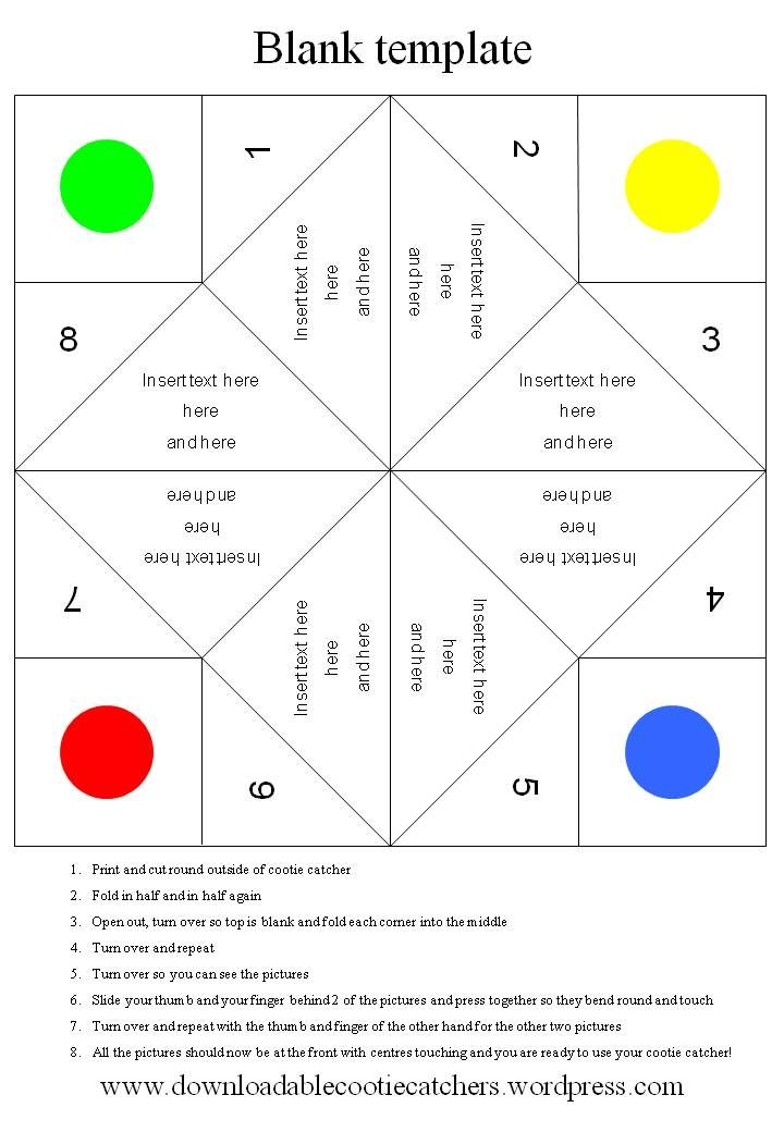 Blank template for cootie catcher Catcher, Template and School - cootie catcher template