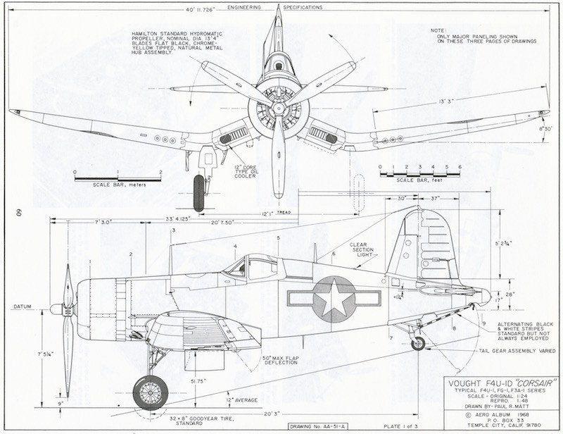 Chance Vought F4U-1D Corsair US Navy 4 Views Drawings | Mechanical