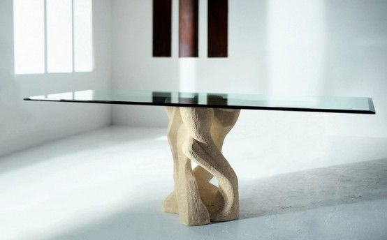 Modern Dining Table With Stone Base Vicenza Shapes From Diotti A Gorgeous Bases For Glass Dining Room Tables Decorating Design