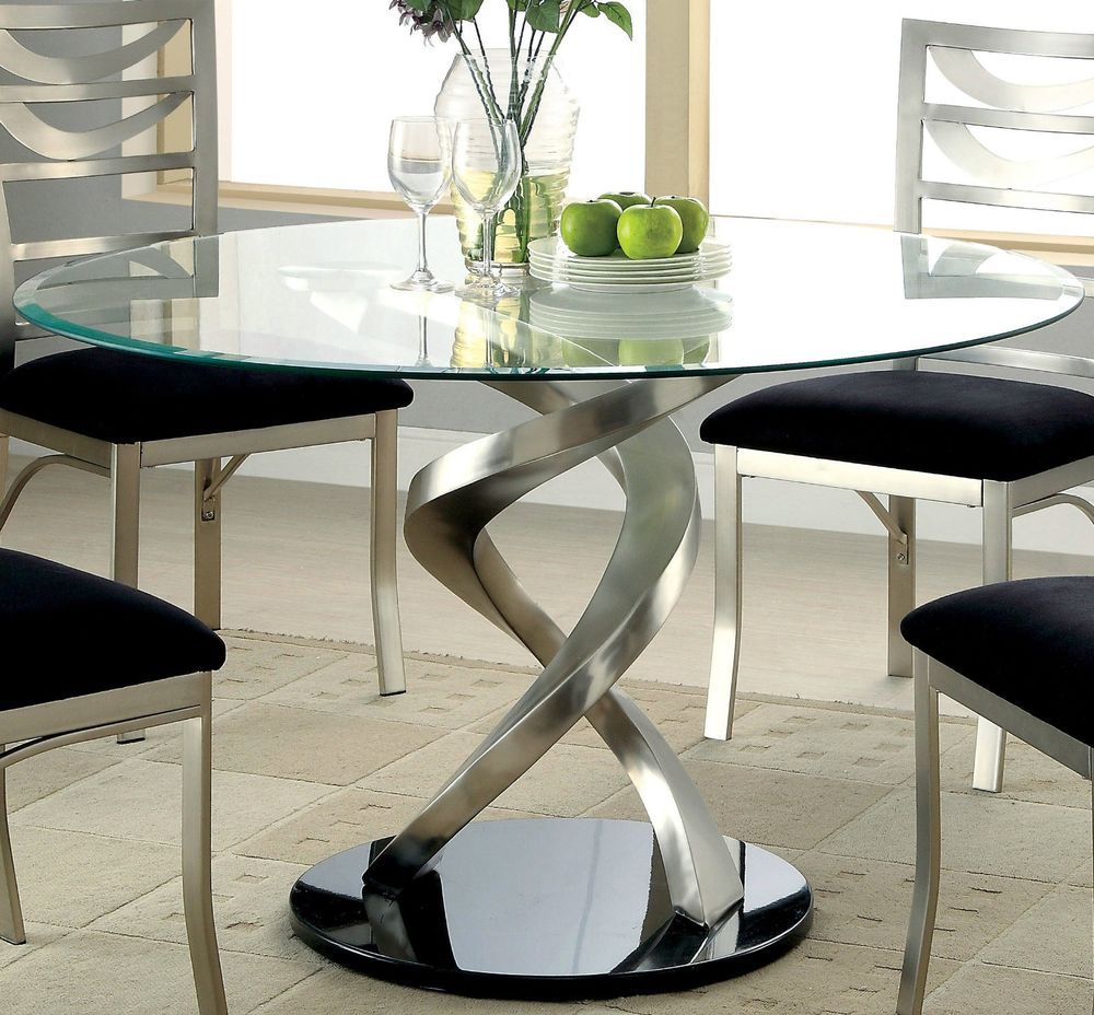 Round Glass Top Dining Table Swirling Pedestal Silver Satin Finish