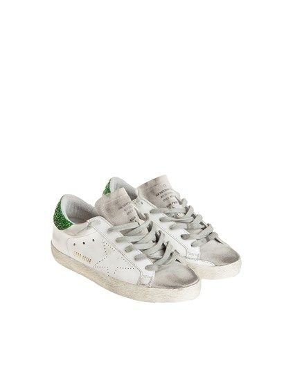 White leather and glitter green Superstar sneakers Golden Goose he8A8jSa