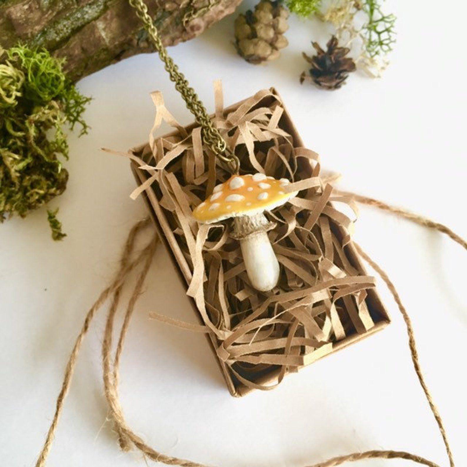 Mushroom Necklace Amanita Toadstool Necklace Nature