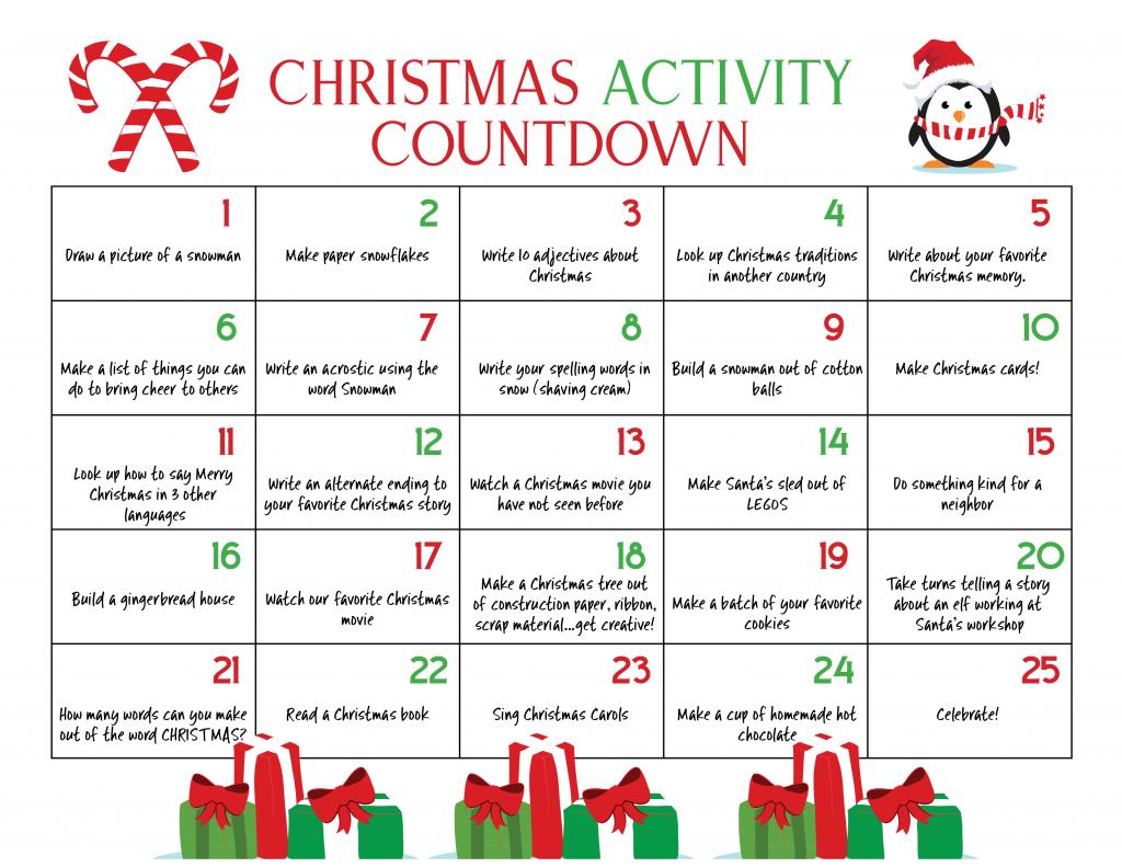 Winter Bucket List Christmas Calendar Countdown Kids Love