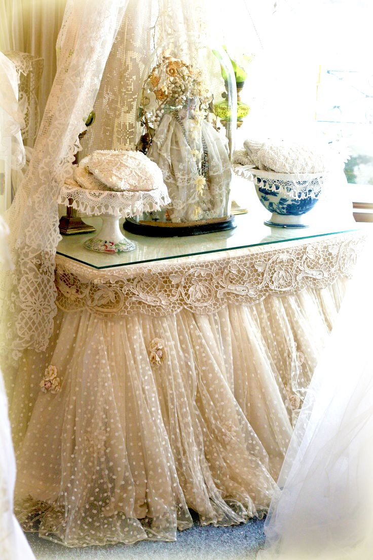 Sheelin antique lace shop loves of 2017 pinterest vintage cream and white swiss table skirt gorgeous lace and detail for a wedding could use for the wedding cake display geotapseo Image collections