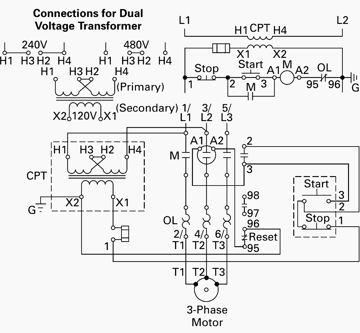 Control Circuit With Control Power Transformer Cpt Current Transformer Transformers Circuit Diagram