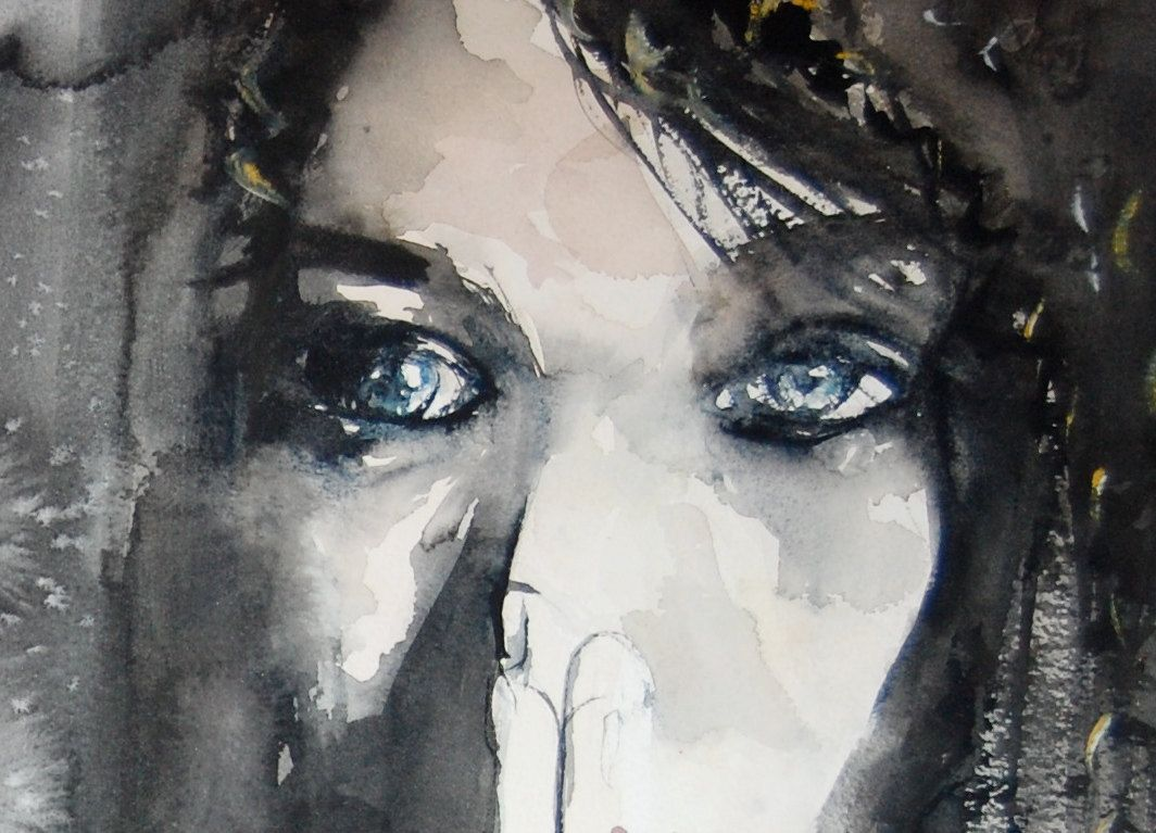 Dark Woman with Blue Eyes Watercolor Painting Print. $90 ...