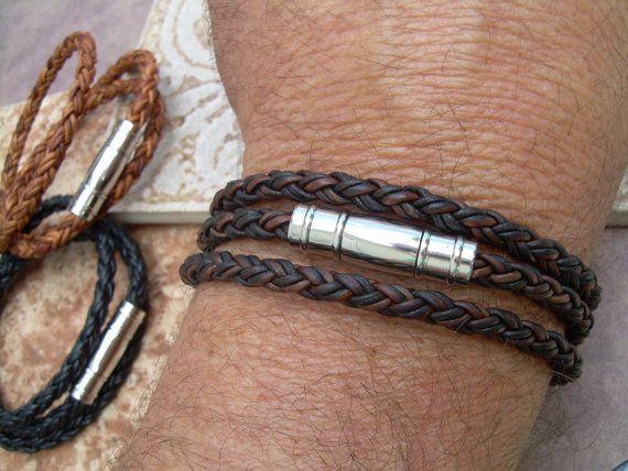 Mens Triple Wrap Braided Leather Bracelet By Urbansurvivalgearusa 27 99