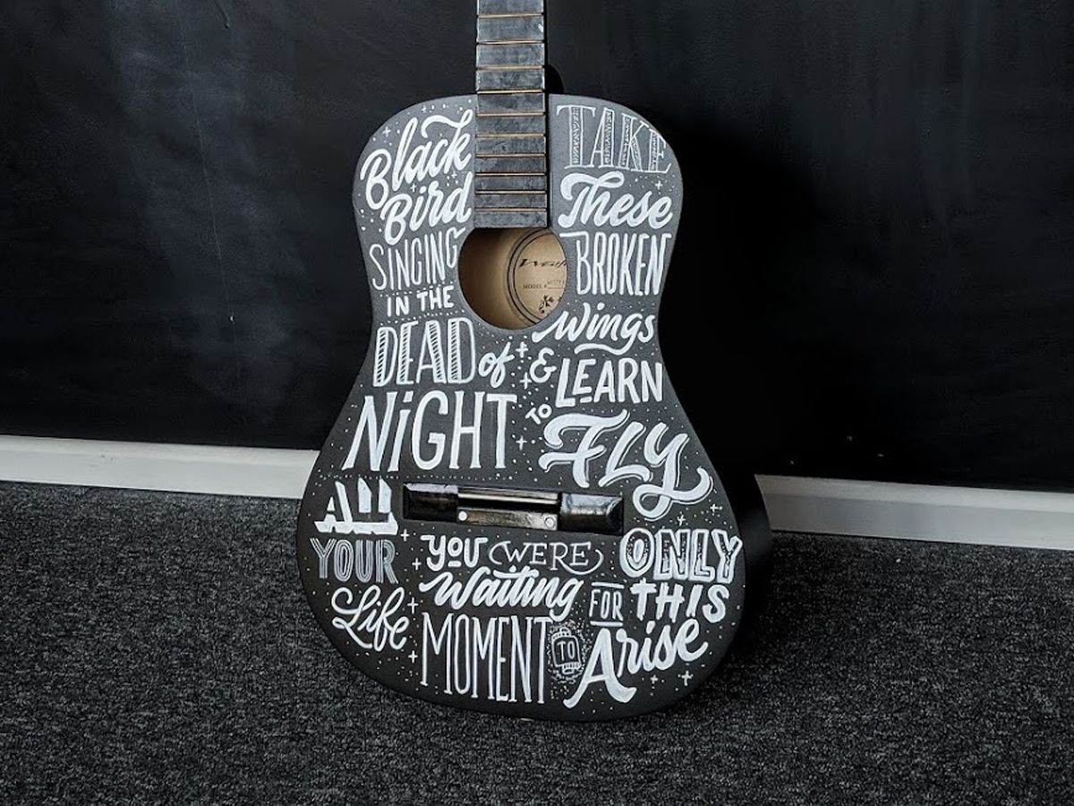 Guitar Lettering Guitar Type Calligraphy Hand Lettering Lettering Typography Ukulele Design Ukulele Art Painted Ukulele