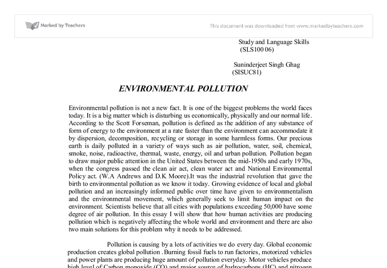environmental issues essay topics