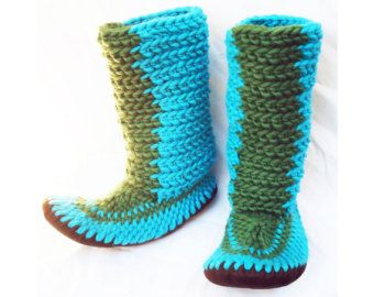 CROCHETED SLIPPER BOOTS with Leather Soles by Muffle-Up! Style: Newt. For Women and Men Knitted Wool Slippers Booties Mukluks
