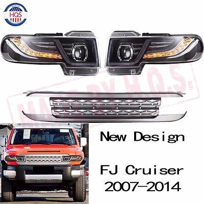 Details About Led Halo Projector Headlights For Toyota Fj Cruiser 2007 2014 Light With Grille
