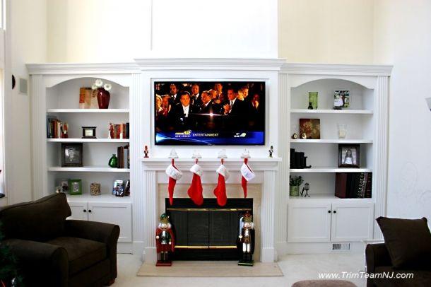 wall unit tv fireplace bookshelves | ... room. Contemporary ...