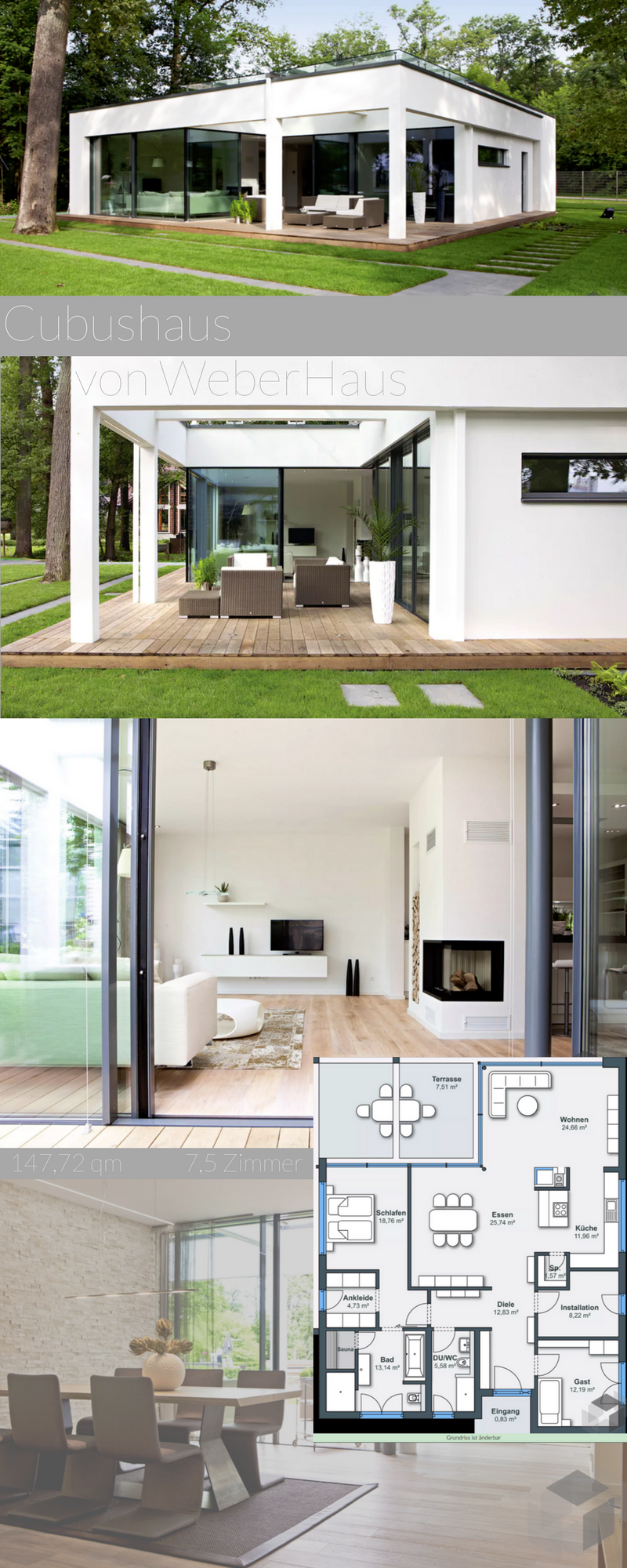 Ein modernes Cubushaus von Weberhaus mit hellen Räumen. ➤ Klick auf ...