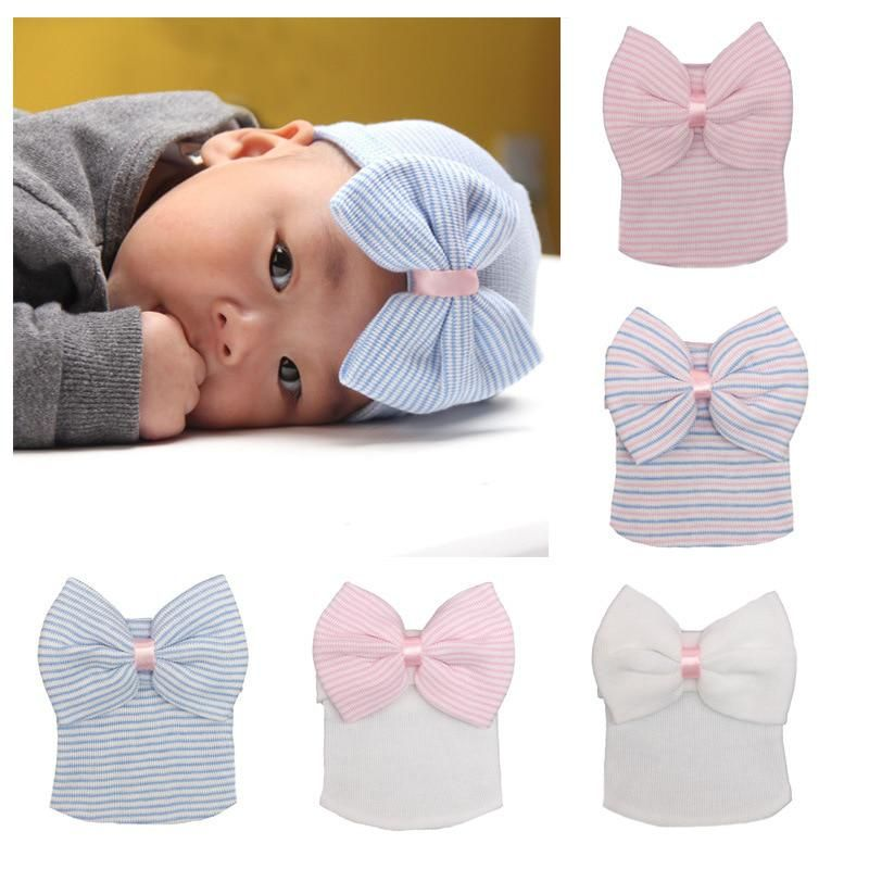 9c98082e3c9181 0-3 Months Cotton Newborn Baby Hats Pink/Blue Baby Caps Baby Accessories  Lovely Big Bow Pure Color Soft Knit Striped Caps Girl. Yesterday's price:  US $4.95 ...