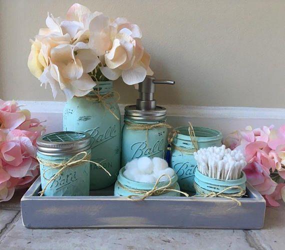 Mason Jar Bathroom Set, Bathroom Decor, Mason Jar Decor, Mason Jar