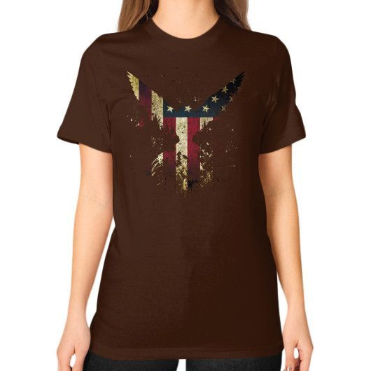 M'erica Eagle Unisex T-Shirt (on woman)
