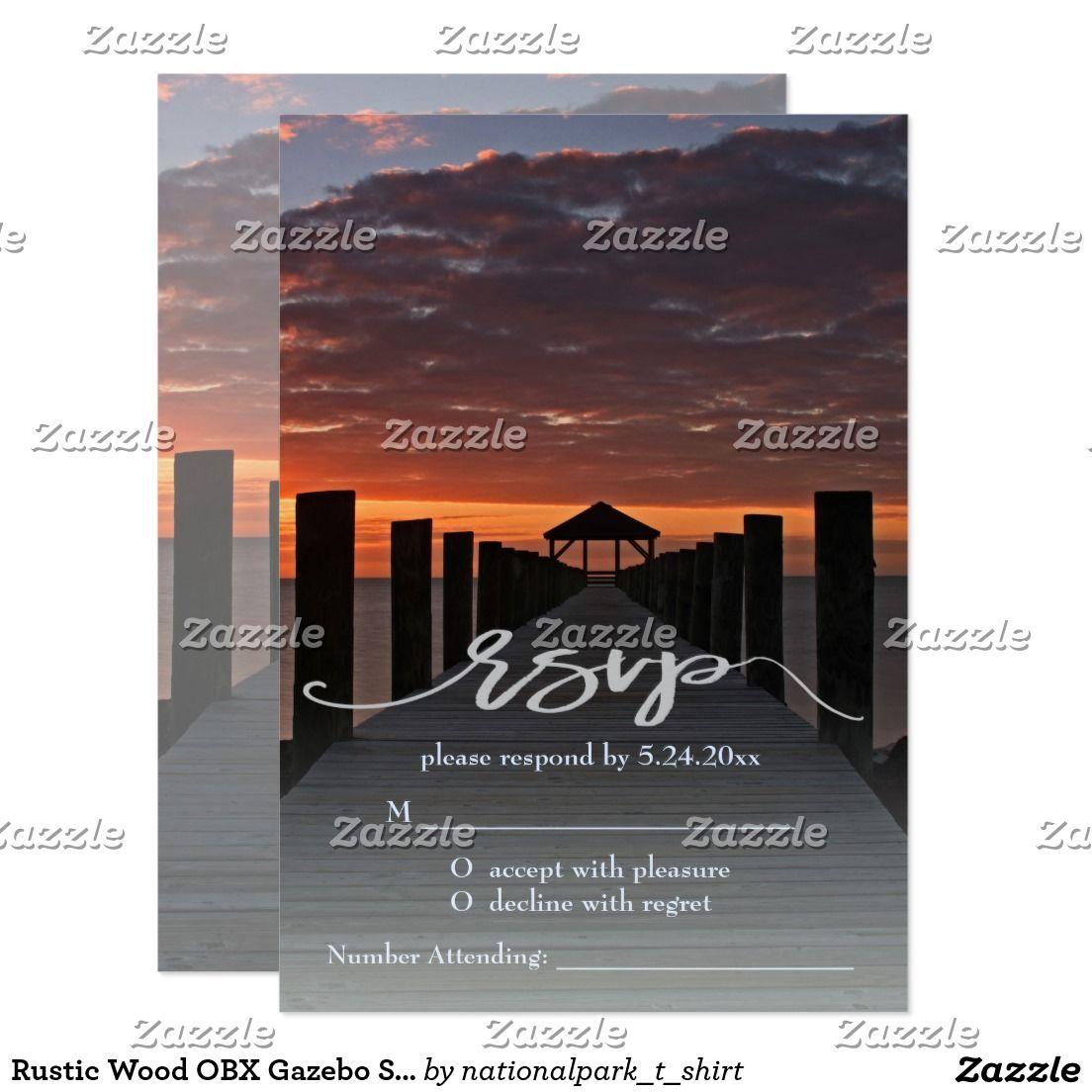 proper response time for wedding rsvp%0A Rustic Wood OBX Gazebo Sunset Wedding RSVP Card