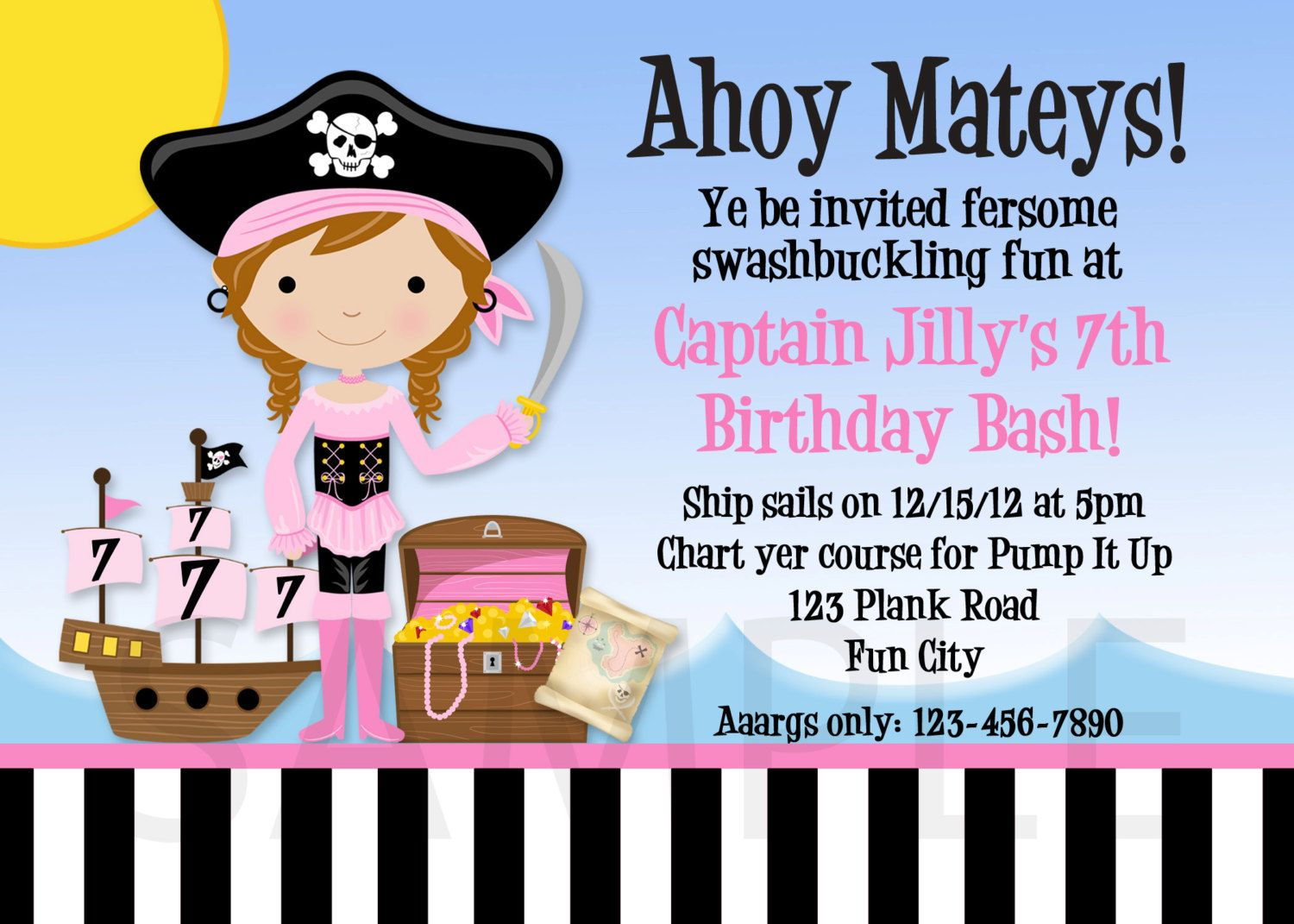 Pirate Party Invitation Pink Pirate Birthday by TheTrendyButterfly ...