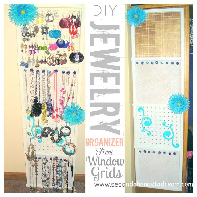 Make Jewelry Organizer from Grid Guest Post Hanging organizer