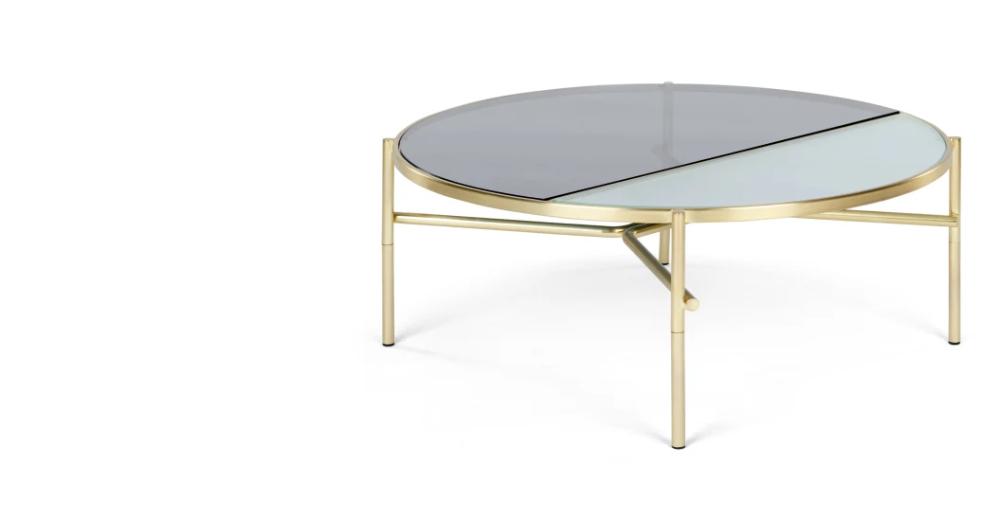 Stanley Table Basse Verre Fume Texture Et Laiton Table Basse Table Basse Verre Et Mobilier De Salon