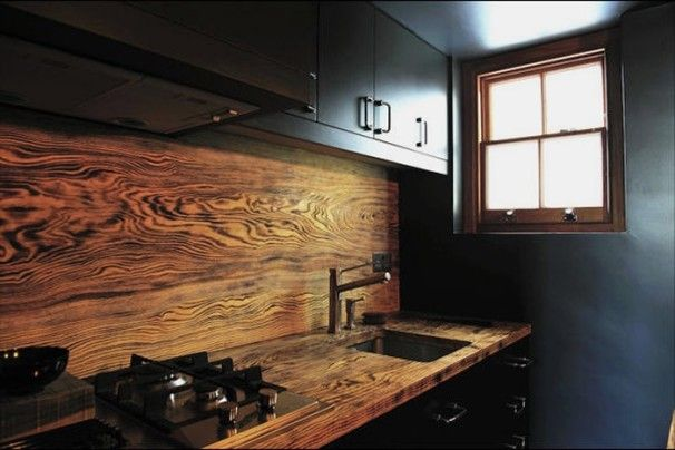 Kitchen Design, Small Model Home Kitchens Completed With Interesting Wood Rich Grained Backsplash And Countertop Also Small Sink As Well As ...