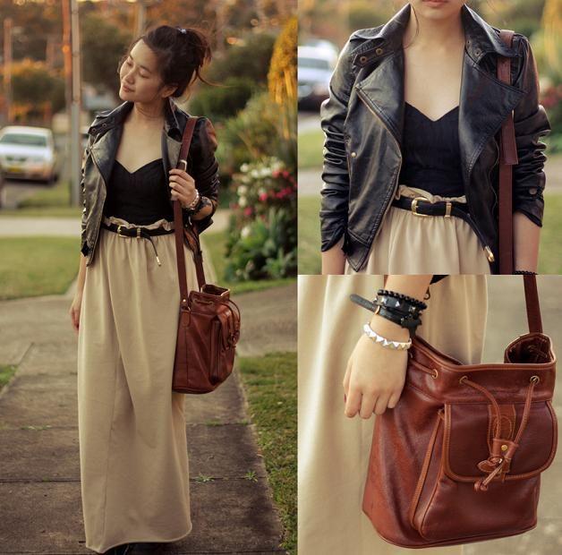 Maxi skirt, leather jacket, black sweetheart-neckline top, belt ...