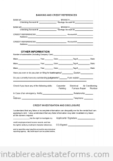 Printable Sample Tenant Rental Application Form  Local Coupons