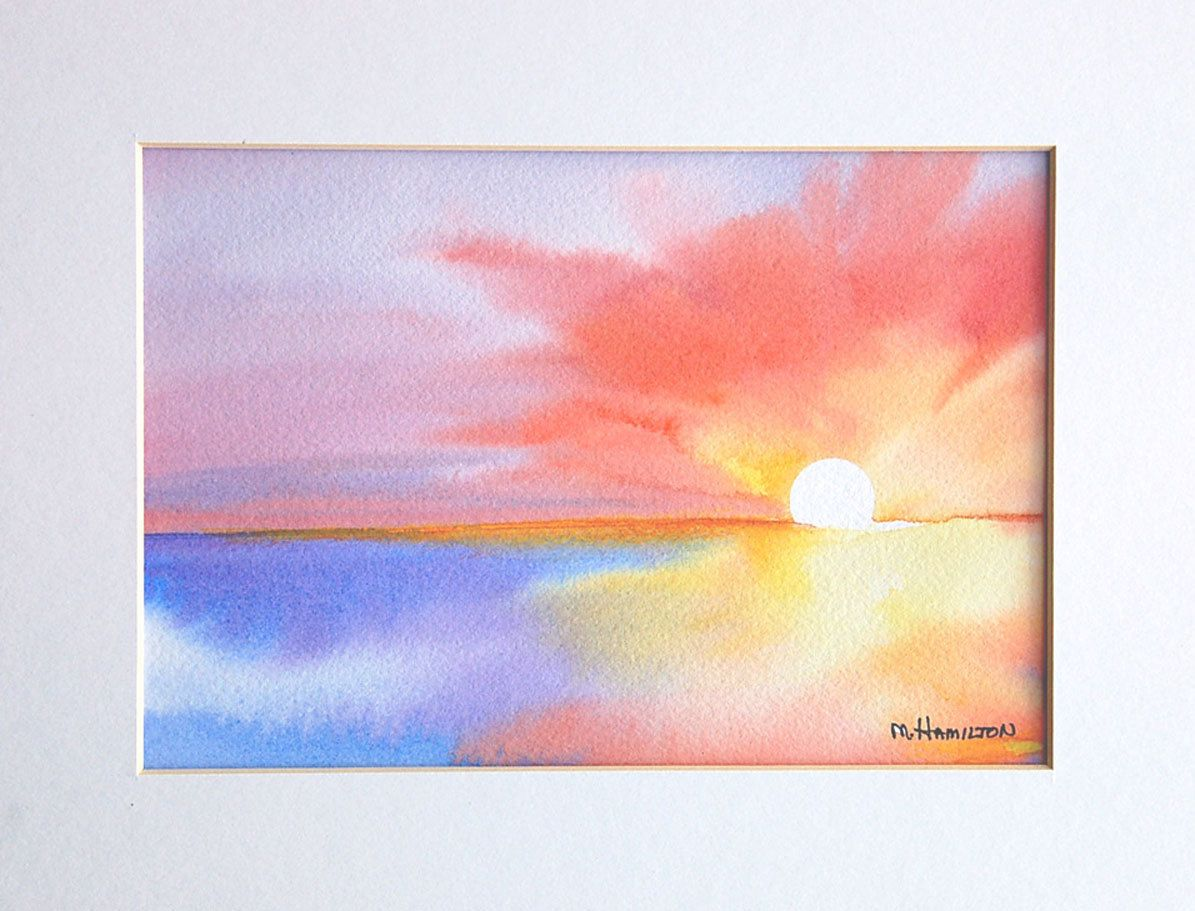 Watercolor Sunrise Scene Google Search Sunrise Painting