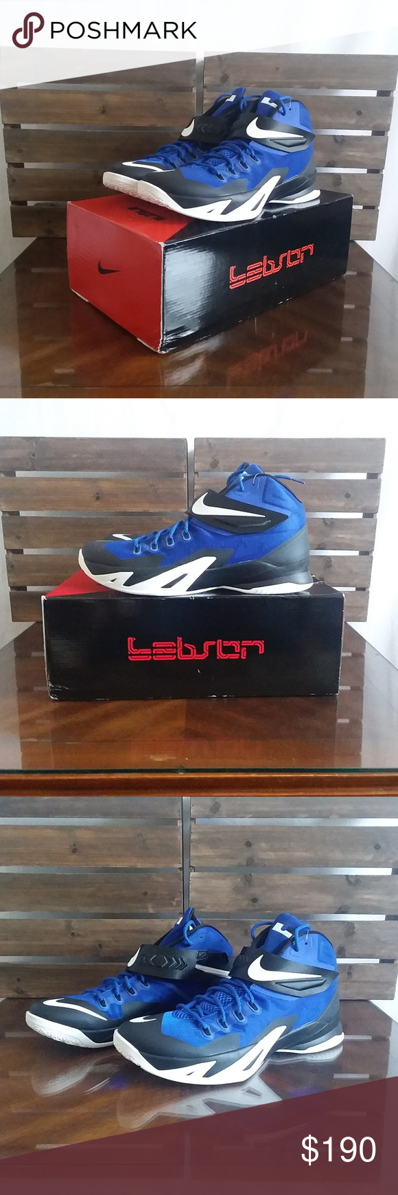 a8389aff0b48 Nike Lebron Soldiers 8 Shoes New Nike Lebron Men s Size 15 Nike Zoom  Soldiers 8 Basketball Shoes New Blue White Black Nike Shoes Athletic Shoes