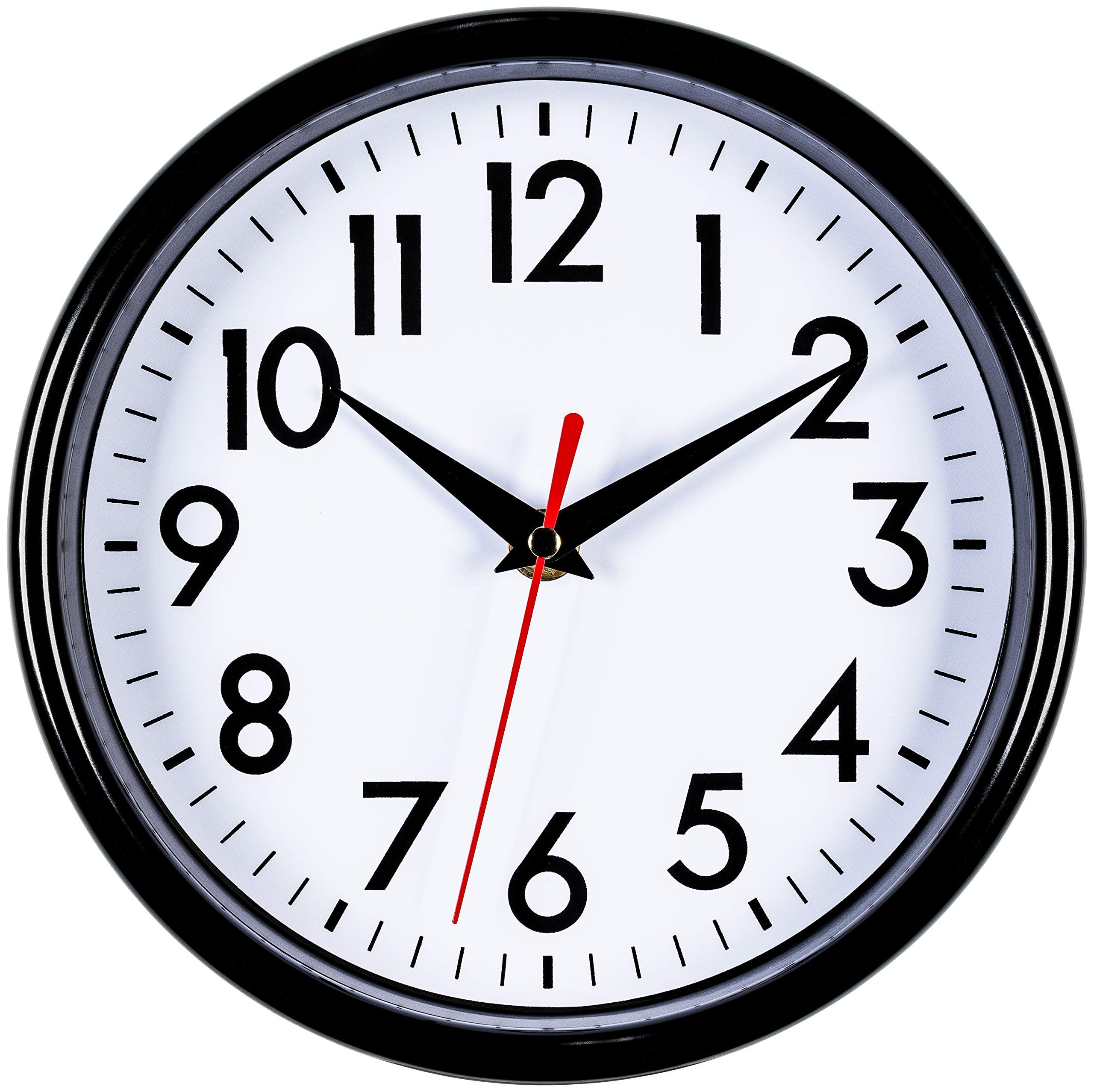 bernhard products black wall clock 8 silent non ticking on wall clocks battery operated id=96915