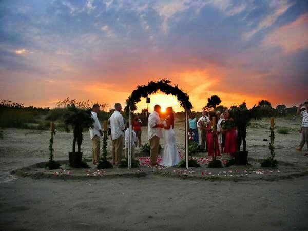Sunset beach wedding!