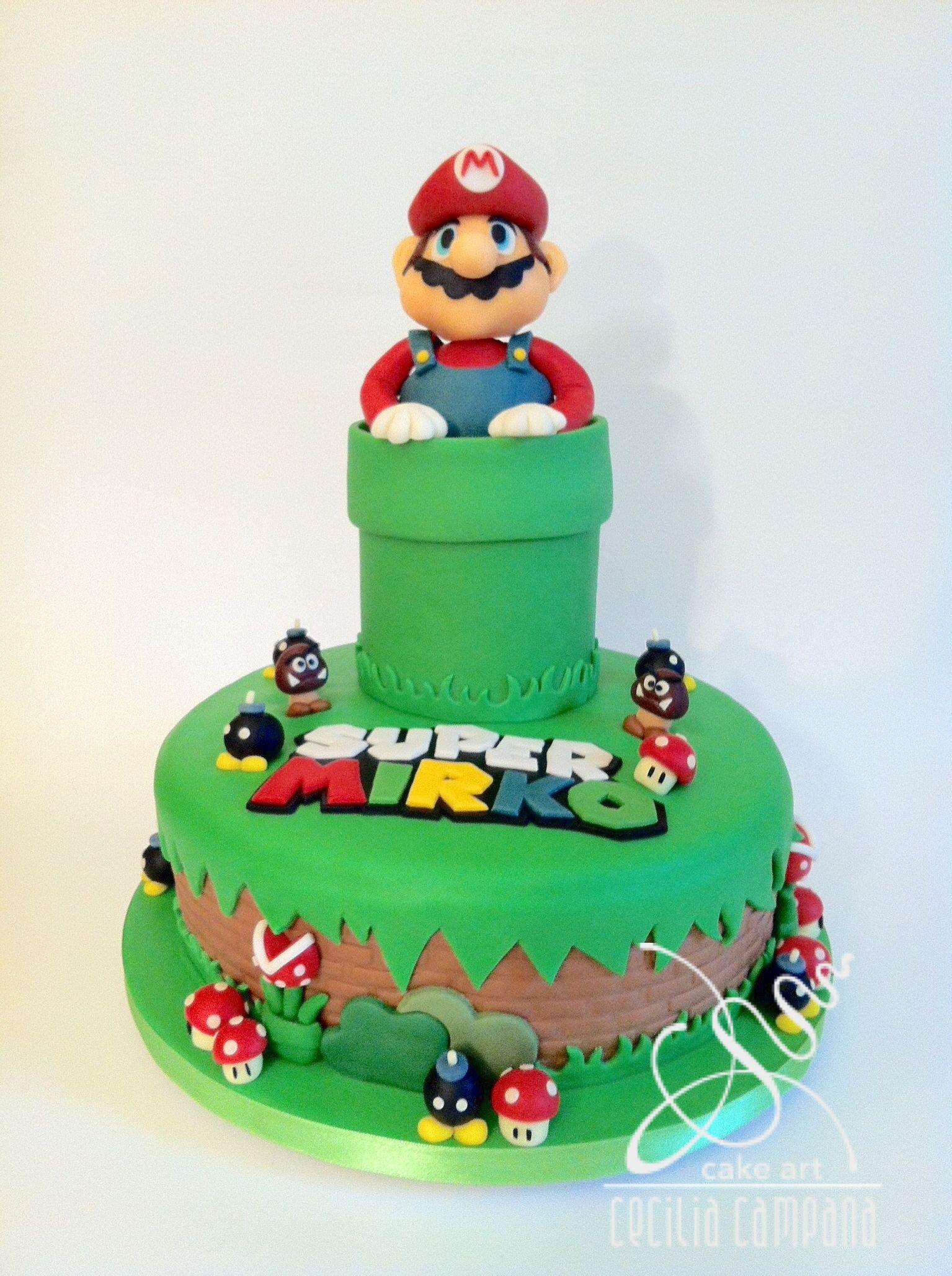 Super Mario Birthday Cake Fondant Sugarpaste Ceciliacampana