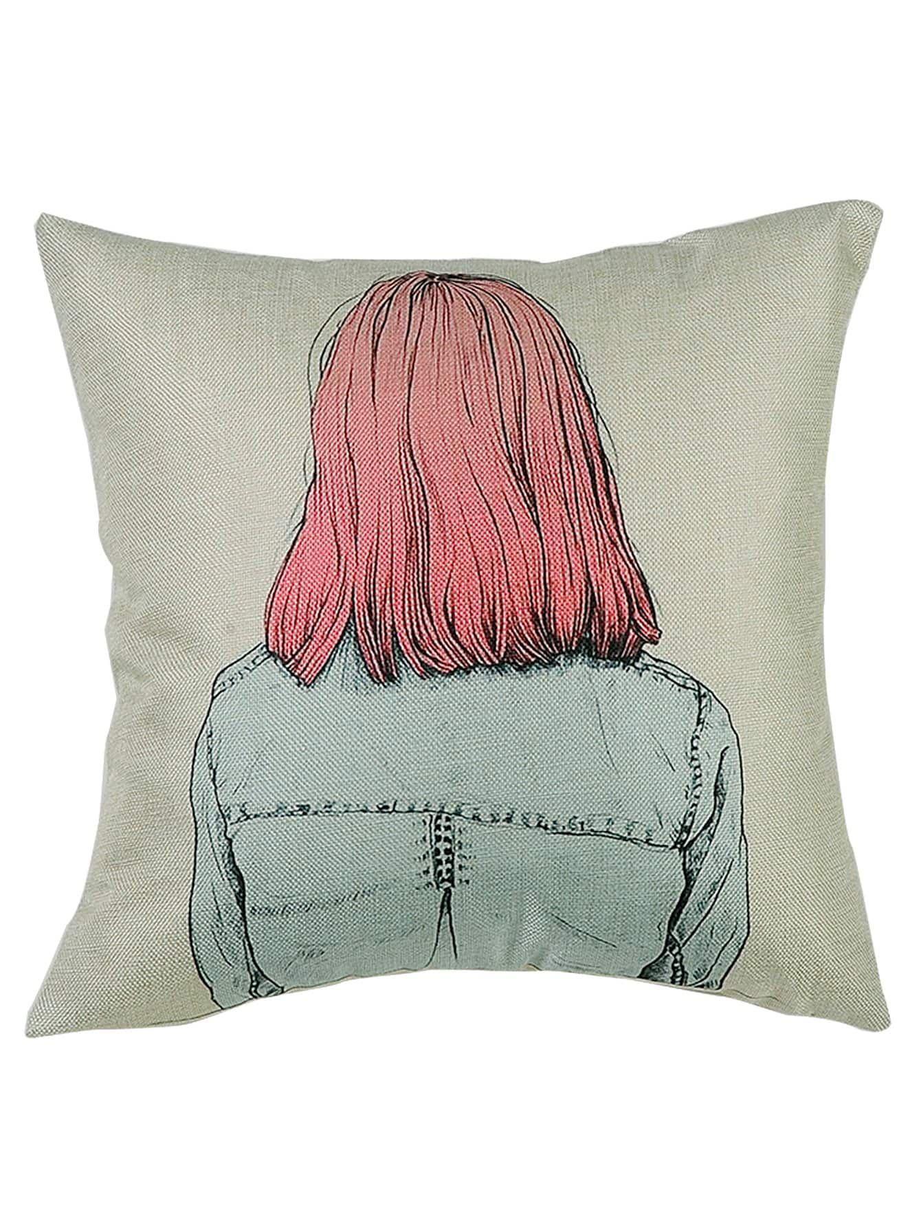 Cartoon Girl Print Cushion Cover Girl Cartoon Print Printed Cushions 462e128f65